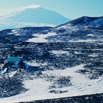 Ice 04 – Antractica – Arrival Heights Observatory, Ross Island, McMurdo Sound; Mt Erebus in Background.